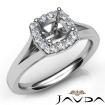 Diamond Engagement Cushion Semi Mount 14k White Gold Halo Pave Setting Ring 0.2Ct - javda.com