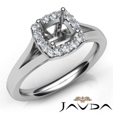 Diamond Engagement Cushion Semi Mount 14K W Gold Halo Pave Setting Ring 0.20Ct