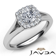 Split Shank Halo U Cut Pave Cushion diamond engagement Ring in 14k Gold White