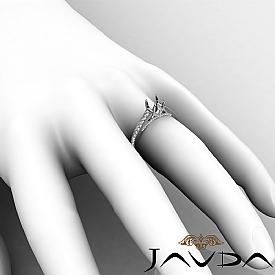 Diamond Engagement Cushion Semi Mount Pave Setting Ring 14K White Gold 0.75Ct