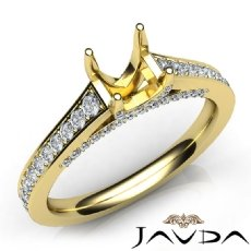 Diamond Engagement Cushion Semi Mount Pave Setting Ring 14k Gold Yellow  (0.75Ct. tw.)