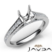 Diamond Engagement Cushion Semi Mount Pave Setting Ring 14k White Gold 0.75Ct - javda.com