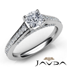 Micro Pave Set Bridge Accent Cushion diamond engagement Ring in 14k Gold White