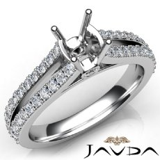 Diamond Engagement Split Shank Setting Cushion Semi Mount Ring 14K W Gold 0.65Ct