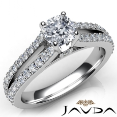 Double Prong Split Shank Cushion diamond engagement Ring in 14k Gold White