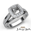Halo Pave Diamond Engagement Cushion Semi Mount Millgrain Ring 14k White Gold 0.9Ct - javda.com