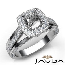 Halo Pave Diamond Engagement Cushion Semi Mount Millgrain Ring 14K W Gold 0.90Ct