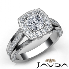 Milgrain Halo Pave Bezel Cushion diamond engagement Ring in 14k Gold White