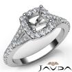 Diamond Engagement 14k White Gold Halo Pave Setting Cushion Semi Mount Ring 0.5Ct - javda.com