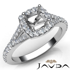 Diamond Engagement 14K W Gold Halo Pave Setting Cushion Semi Mount Ring 0.50Ct