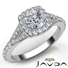 Split Shank U Cut Pave Set Cushion diamond engagement Ring in 14k Gold White