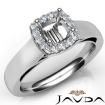 Cushion Diamond Engagement Halo Pave Setting Semi Mount Ring 14k White Gold 0.2Ct - javda.com