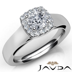 Cathedral Style Halo Filigree Cushion diamond engagement Ring in 14k Gold White