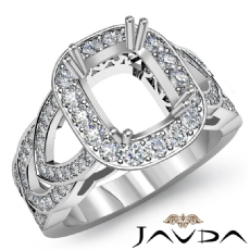 Diamond Engagement Cushion Semi Mount Halo Pre-Set Ring 14K White Gold 1.25Ct