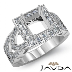 Diamond Engagement Ring Halo Pave Setting Princess Semi Mount 14K W Gold 1.25Ct