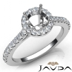 Diamond Engagement Shared Prong Setting Ring 14k White Gold Round Semi Mount 0.5Ct - javda.com
