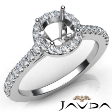 Diamond Engagement Shared Prong Setting Ring 14K W Gold Round Semi Mount 0.50Ct