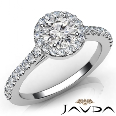 Shared Prong Set Halo Round diamond engagement Ring in 14k Gold White