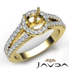 Halo Prong Round Diamond Gorgeous Engagement Semi Mount Ring 18k Gold Yellow  (0.75Ct. tw.)