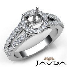 Halo Prong Round Diamond Gorgeous Engagement Semi Mount Ring 14K W Gold 0.75Ct