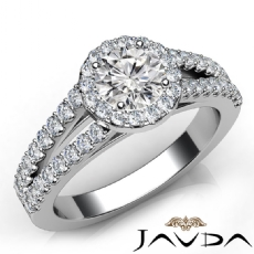 Frame Split Shank Pave Set Round diamond engagement Ring in 14k Gold White