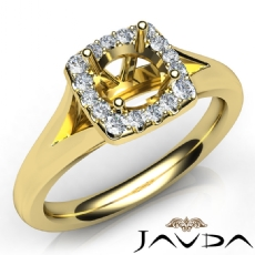 Round Diamond Engagement Semi Mount 14k Gold Yellow Halo Pave Setting Ring  (0.2Ct. tw.)