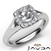Round Diamond Engagement Semi Mount 14k White Gold Halo Pave Setting Ring 0.2Ct - javda.com