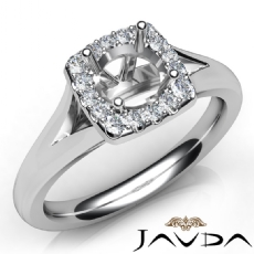 Round Diamond Engagement Semi Mount 18k Gold White Halo Pave Setting Ring  (0.2Ct. tw.)