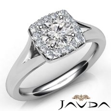 Halo Pave Set Split Band Round diamond  Ring in 14k Gold White