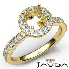Halo Pave Setting Diamond Engagement 14k Gold Yellow Round Semi Mount Ring  (0.5Ct. tw.)