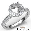 Halo Pave Setting Diamond Engagement 14k White Gold Round Semi Mount Ring 0.5Ct - javda.com