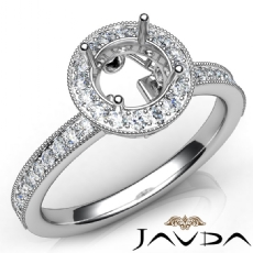 Halo Pave Setting Diamond Engagement 14K White Gold Round Semi Mount Ring 0.50Ct