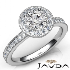 Halo Milgrain Sidestone Round diamond engagement Ring in 14k Gold White