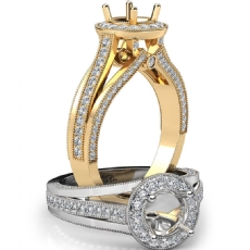 Halo Pave Diamond Engagement Round Semi Mount Millgrain Ring 14k Gold Yellow  (0.9Ct. tw.)