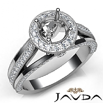 Halo Pave Diamond Engagement Round Semi Mount Millgrain Ring 14K W Gold 0.90Ct