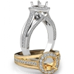 Halo Pave Diamond Engagement Round Semi Mount Millgrain Ring 14k White Gold 0.9Ct - javda.com