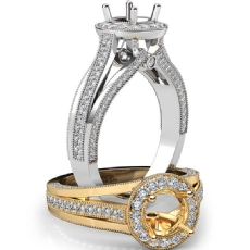 Halo Pave Diamond Engagement Round Semi Mount Millgrain Ring 18k Gold White  (0.9Ct. tw.)