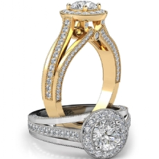 Milgrain Halo With Sidestone Round diamond engagement Ring in 14k Gold Yellow