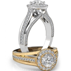 Halo Pave Bezel Milgrain Edge Round diamond engagement Ring in 14k Gold White