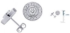 1.10CT Round Diamond Pave Button Earrings in 14k WHite Gold