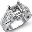 1.35Ct Diamond Engagement Semi Mount Ring 14k White Gold Knot Shape Shank Setting - javda.com