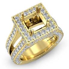 Diamond Engagement Ring Princess Semi Mount Halo Setting 14k Gold Yellow (2.5Ct. tw.)