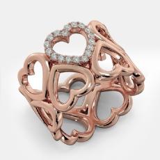 Round Diamond U Shape Prong Set 14k Rose Gold Engagement Heart Ring  (0.15Ct. tw.)