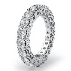 Prong Set Diamond Heart Eternity Wedding Ring 14k White Gold Women's Band 3Ct