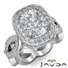 Infinity Twist Halo Pave Set Cushion diamond engagement Ring in 14k Gold White