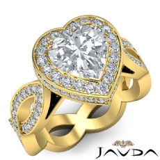 Infinity Twist Halo Pave Set Heart diamond engagement Ring in 14k Gold Yellow