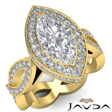 Infinity Twist Halo Pave Set Marquise diamond engagement Ring in 14k Gold Yellow
