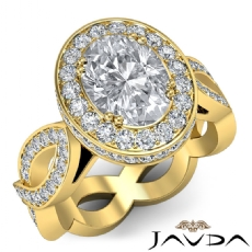 Twisted Shank Circa Halo Pave Oval diamond  Ring in 14k Gold Yellow