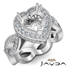 Diamond Engagement Heart Semi Mount Halo Pave Setting Ring 14K White Gold 1.3Ct