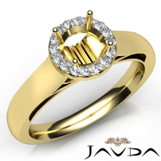 Halo Pave Setting Round Diamond Engagement Semi Mount Ring 18k Gold Yellow  (0.2Ct. tw.)